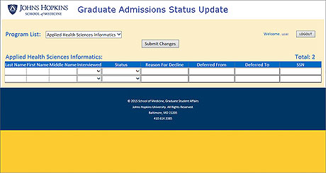 View Graduate Admissions Sample